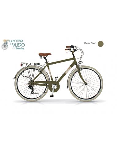 Bicicletta City Bike Retrò da Uomo Via Veneto Velomarche con portapacchi Verde Oasi