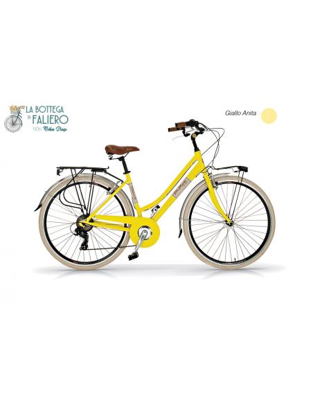 Bicicletta da Città Elegante 6 sped Retrò da Donna Via Veneto. Giallo Anita.
